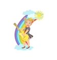 Girl Playing Electric Guitar With Rainbow And vector image vector image