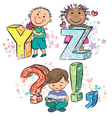 Funny alphabet with kids YZ vector image vector image