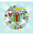 Christmas icon set in circle shape vector image vector image