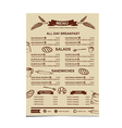 Restaurant menu Bakery and cafe vector image