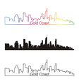 Gold coast skyline linear style with rainbow vector