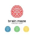 Set of brain maze icons vector image