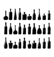 Wine and beer bottles silhouettes vector image
