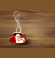 Red cup of coffee with a heart shaped valentine vector image vector image