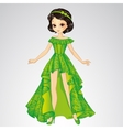 Beauty Princess In Green Dress vector image