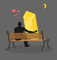 Lover gold Golden bullion and people are looking vector image