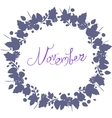 November lettering in a frame of leaves autumn vector image