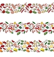 Seamless pattern brushes with different vegetables vector image