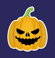 sticker pumpkin for the holiday happy halloween vector image
