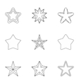 Figure star icons set outline style vector image