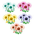 set of flowers in different colors vector image vector image
