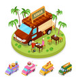 isometric street food kebab truck with people vector image