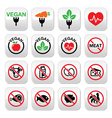 Vegan no meat vegetarian lactose free buttons s vector image vector image