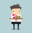 Businessman carrying a tray of food vector image vector image