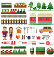 Set of elements for horticulture Farm building vector image