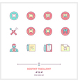 Dentist Therapist Line Icons Set vector image