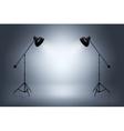 Empty photo studio with spotlights Realistic vector image