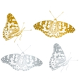 gold beautiful butterfly set vector image
