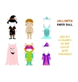 Halloween paper doll cartoon vector image