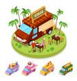 isometric street food kebab truck with people vector image