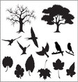 silhouette-of-tree-birds-and-leaves vector image