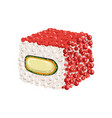 sushi roll with rice cream cheese and caviar vector image