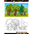 trees and forest cartoon for coloring book vector image