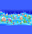 winter landscape with snowcovered houses at night vector image