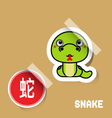 Chinese Zodiac Sign snake sticker vector image