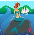 mermaid on the stone vector image