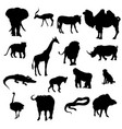 silhouettes of animals safaris vector image