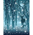 Stag in Winter Forest2 vector image