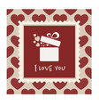 valentines card with a gift in a frame vector image