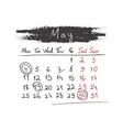 Handdrawn calendar May 2015 vector image vector image