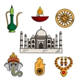 Indian culture and religion icons vector image