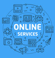 linear online services vector image