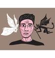 man between angel and demon vector image