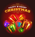 merry christmas background with explosion of gifts vector image