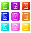 smartphone with gps navigator icons 9 set vector image