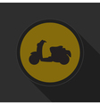 yellow round button with black scooter icon vector image