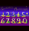 summer numbers yellow houses on the night beach vector image