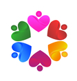 Teamwork voluntary hearts logo vector image