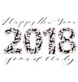 happy new year inscription with silhouettes of vector image