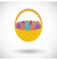Basket of eggs single icon vector image