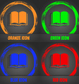 Book icon Fashionable modern style In the orange vector image
