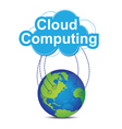 cloud computing around the world vector image vector image