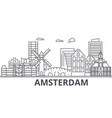amsterdam architecture line skyline vector image