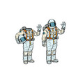 astronaut in spacesuit and mockup without a head vector image