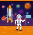 astronaut solar system flat vector image