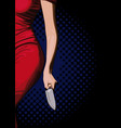 girl with a knife vector image